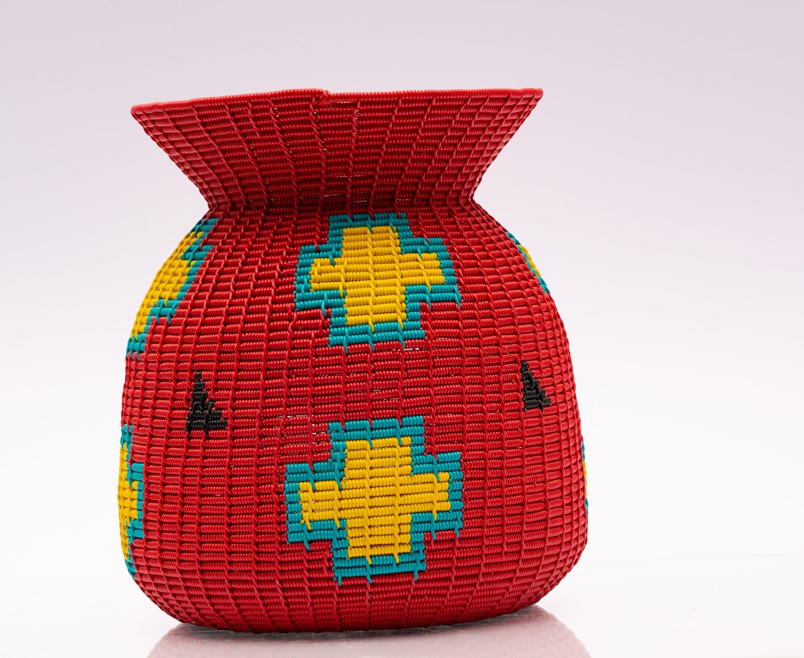 Red Alfred Ntuli wire vase