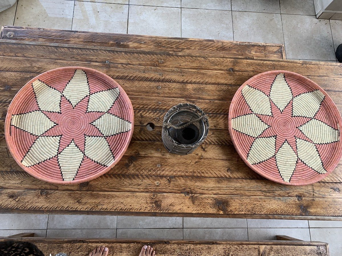 Pink ilala woven trays (50cm)