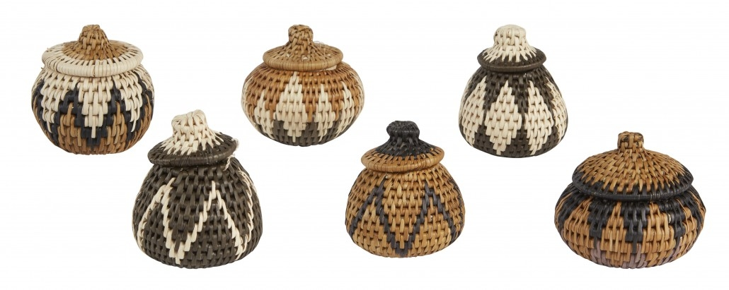Set of 6 herb Zulu baskets (amaquthu)