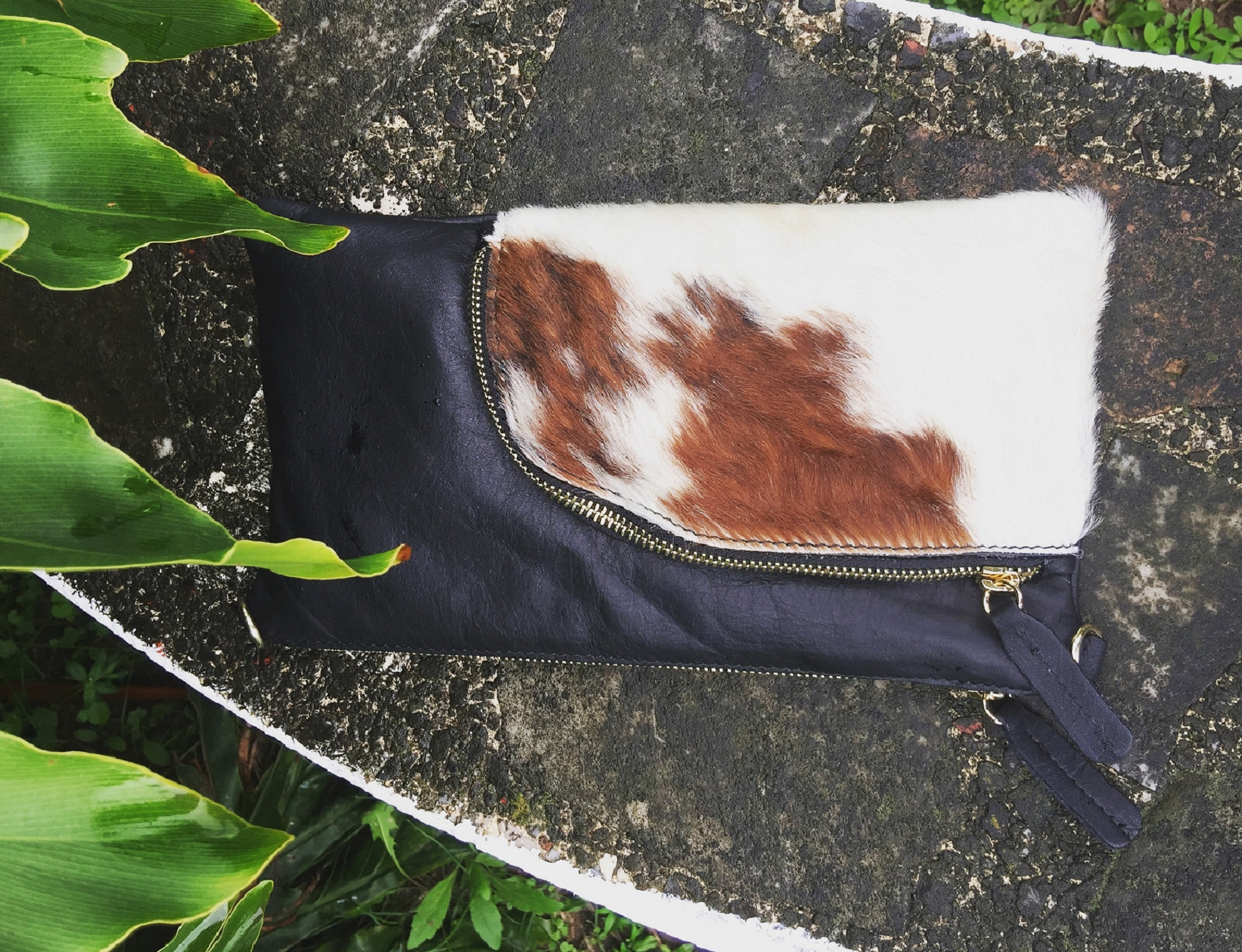 Hand crafted Nguni cow clutch