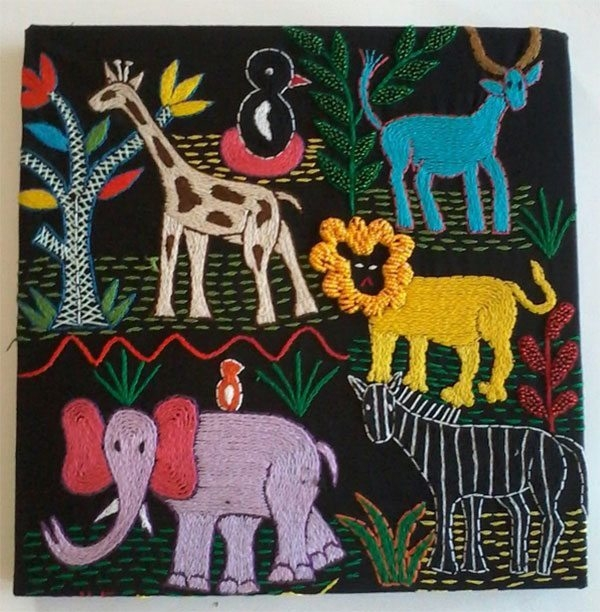 African animals hand crafted canvas